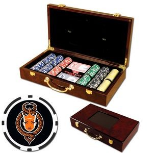 Poker chips set with Glossy wood case - 300 Full Color 8 Stripe chips