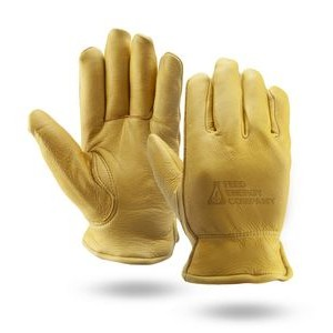 Winter Lined Gold Deerskin Leather Gloves