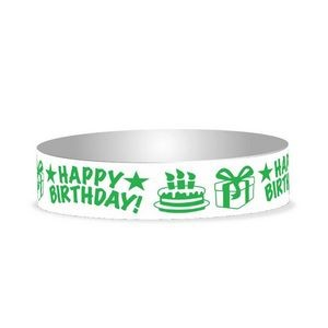 "Preprinted 3/4"" Happy Birthday Tyvek Bands"