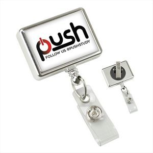 Chrome Rectangle Badge Reel with Clear Vinyl Strap