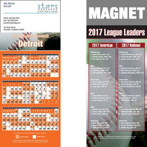 Detroit Pro Baseball Schedule Magnet (3 1/2x8 1/2)
