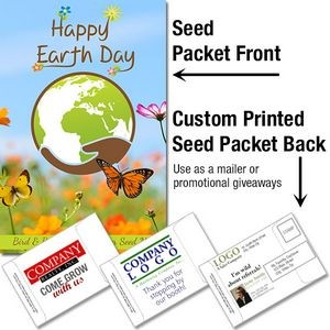 Earth Day - Bird & Butterfly Wildflower Seed Packet / Mailable Seed Packet - Custom Printed Back