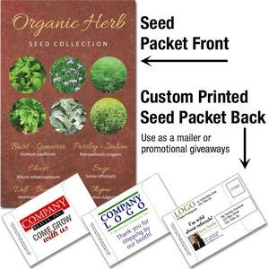 Organic Herb Seed Collection / Mailable Seed Packet - Custom Printed Back