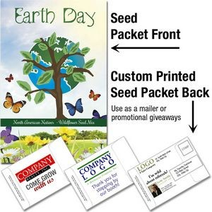 Earth Day Wildflower Seed Mix/ Mailable Seed Packet - Custom Printed Back