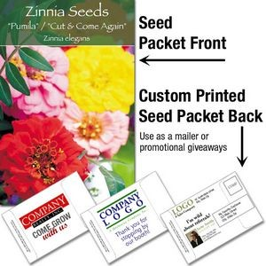Zinnia Seed Mix / Mailable Seed Packet - Custom Printed Back