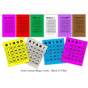 "Semi Custom Bingo Cards - Black & White (2.00""x3.50"")"