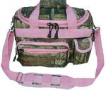 Custom Ladies' Mossy Oak Camo Duffel Bag w/ Pink Trim (13