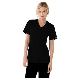 Cherokee Workwear Snap Front V-Neck Top