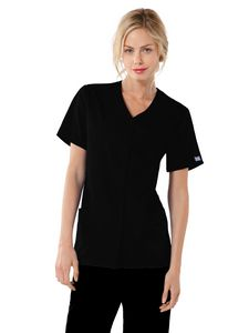 Custom Cherokee Workwear Snap Front V-Neck Top