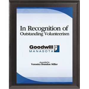 "Black Finish Plaque w/ Sublimated White Plate (6""x8"")"