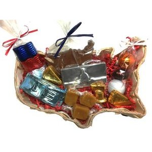 USA Shaped Large Wooden Gift Basket