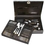 Custom 72 PC Stainless Steel Flatware & Hostess Set w/ Gold Trim