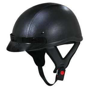 Outlaw Dark Rider Black-Leather Half Helmet with 3-Snap Visor