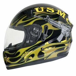 Glossy Dual-Visor Full-Face Motorcycle Helmet with U.S. Marines Graphics