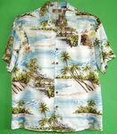 Custom Hawaiian Tropical Print 100 percent Rayon Blue Shirt
