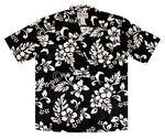 Custom Black Short Sleeve Hawaiian Cotton Shirt with Button Front