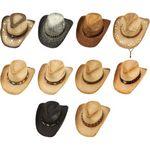 Custom 10pc Shape-able Assorted Western Cowboy Straw Hat Set