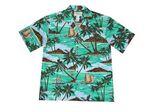 Custom Green Hawaiian Cotton Poplin Shirt w/ Button Front & Short Sleeves