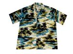 Custom Blue Hawaiian Cotton Poplin Shirt w/ Button Front & Short Sleeves