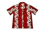 Custom Red Hawaiian Cotton Poplin Shirt w/ Button Front & Short Sleeves