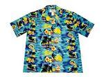 Custom Navy Hawaiian Cotton Poplin Shirt w/ Button Front & Short Sleeves