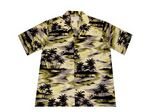 Custom OD Green Hawaiian Cotton Poplin Shirt w/ Button Front & Short Sleeves