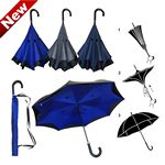 Custom Inverted / Reversed Double Layer Straight Umbrella with Leather Handle