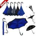 Custom Inverted / Reversed Double Layer Straight Umbrella with Curved Leather Handle
