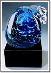 Custom Blue Pacific Art Glass Sculpture w/o Marble Base (3