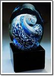 Custom The Great Wave Art Glass Sculpture w/ Marble Base (2.75