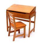 Custom Child's Slanted Top Desk & Chair w/ Pecan Finish
