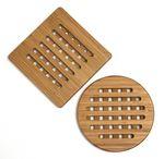 Custom Bamboo Set of 2 Trivets (1 Round, 1 Square)