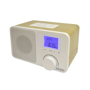 jensen digital am fm dual alarm clock radio with wooden cabinet jcr315 ideastage. Black Bedroom Furniture Sets. Home Design Ideas