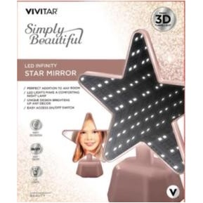 Vivitar® LED Infinity Rose Gold Star Shaped Vanity Mirror