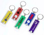 Custom Translucent Slim Rectangle LED Flashlight Keychain w/ Silver Trim
