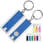 Custom Slim Rectangle LED Flashlight Keychain w/ Silver Trim