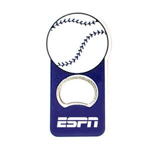 Baseball ball shape bottle opener with magnet.