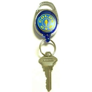 Oval Retractable Key Ring with Metal Carabiner Clip