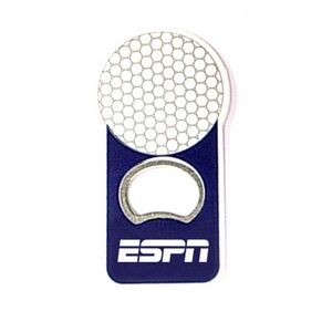 Golf ball shape bottle opener with magnet.