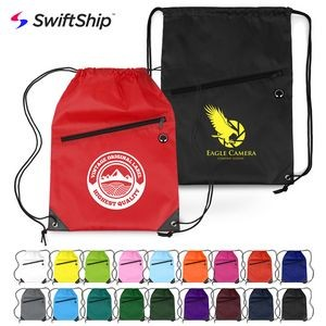 Drawstring Backpacks with Zipper Pocket