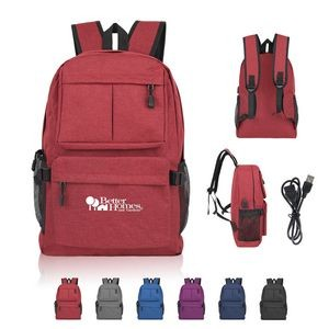 Classic School Backpack Computer Bag With USB Port