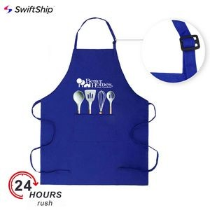Full Length 2 pockets Bib Apron w/Slider Neck Adjustment