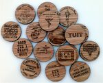 Custom Wooden Nickel Red Oak Laser Engraved Two Sides Standard Quantities