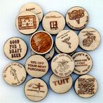 Custom Wooden Nickel Aspen Laser Engraved on One Side Low Minimums
