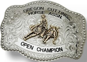 Rectangular Custom Trophy Buckle w/ Dotted Trim