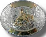 Custom Silver & Gold Custom Trophy Buckle