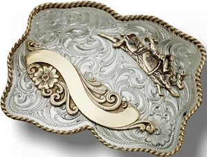 Rectangular Custom Trophy Buckle w/ Gold Floral