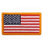 Custom US Flag Embroidered Military Patch w/Gold Border