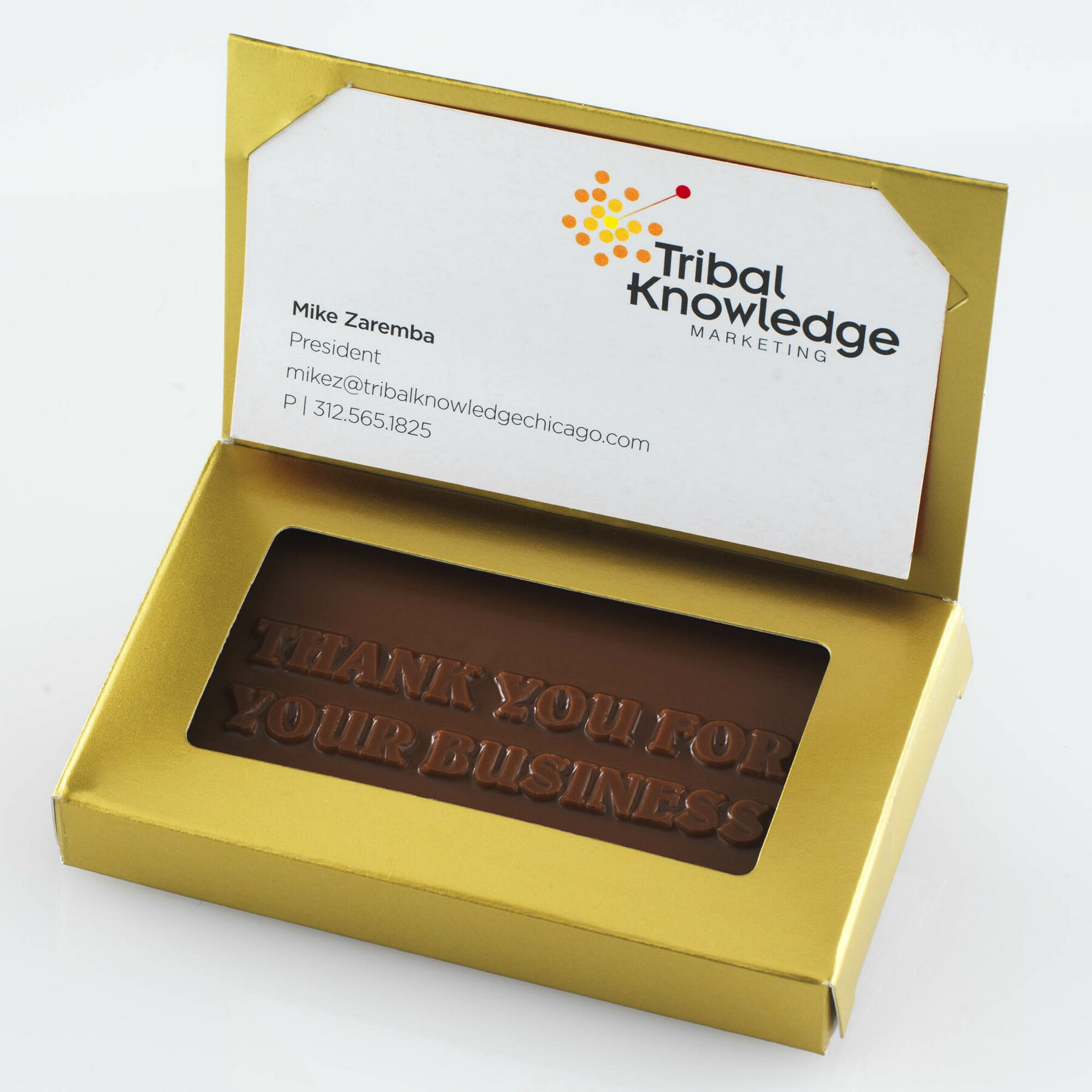 Individual Chocolate Business Cards Gold Box w/ Flap