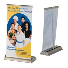 Deluxe Line Mini Roll Up Silver Desktop Display w/ 9.375x17.75x4 Banner